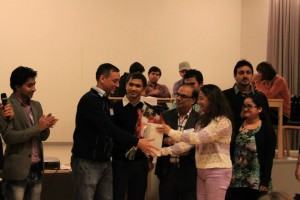 presenting gift to Ex President